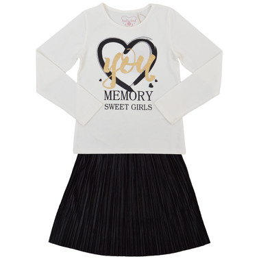 Елегантен сет от блуза с щампа и пола солей бял