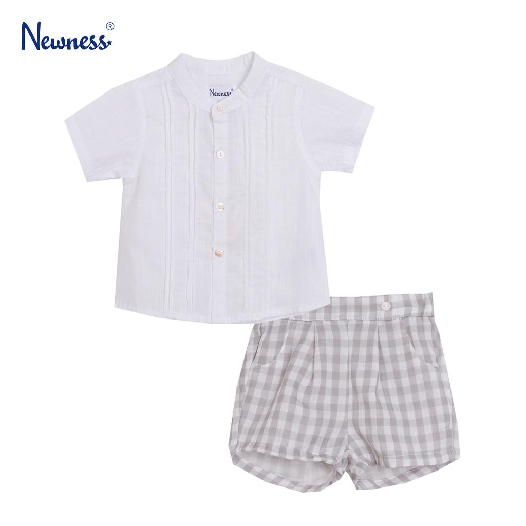 Луксозен комплект Newness риза и панталонки с лен бял