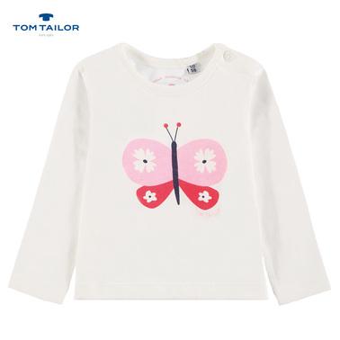 Блузка с пеперуда от Tom Tailor в бяло