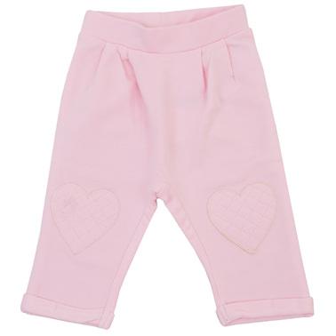 Трикотажен панталон с басти и сърца бледо розов
