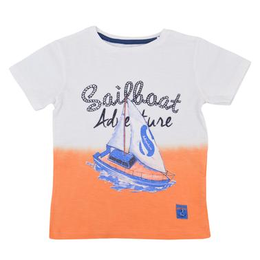 Тениска в преливащи цветове в оранжево с щампа платноход