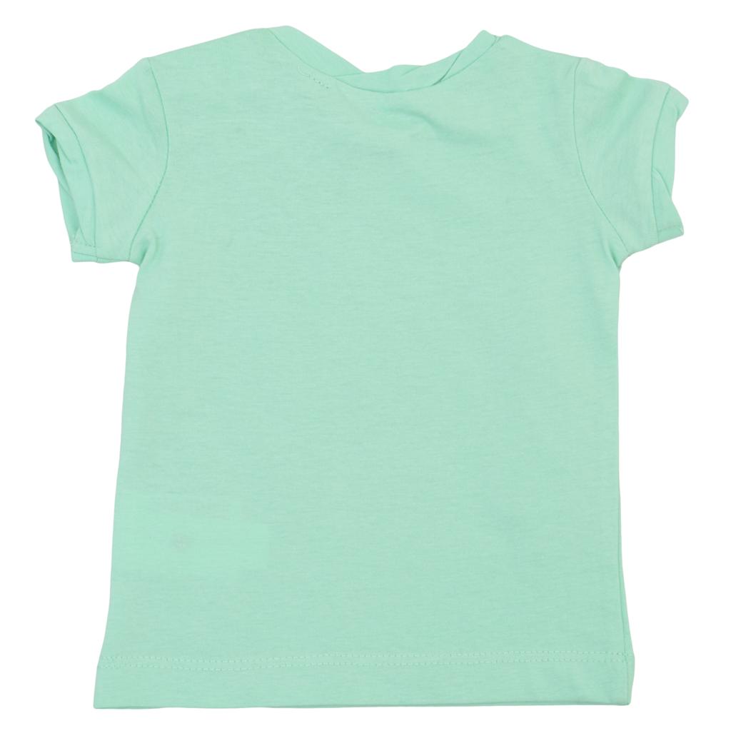 Бебешка блуза с набор и щампа със сърца зелена