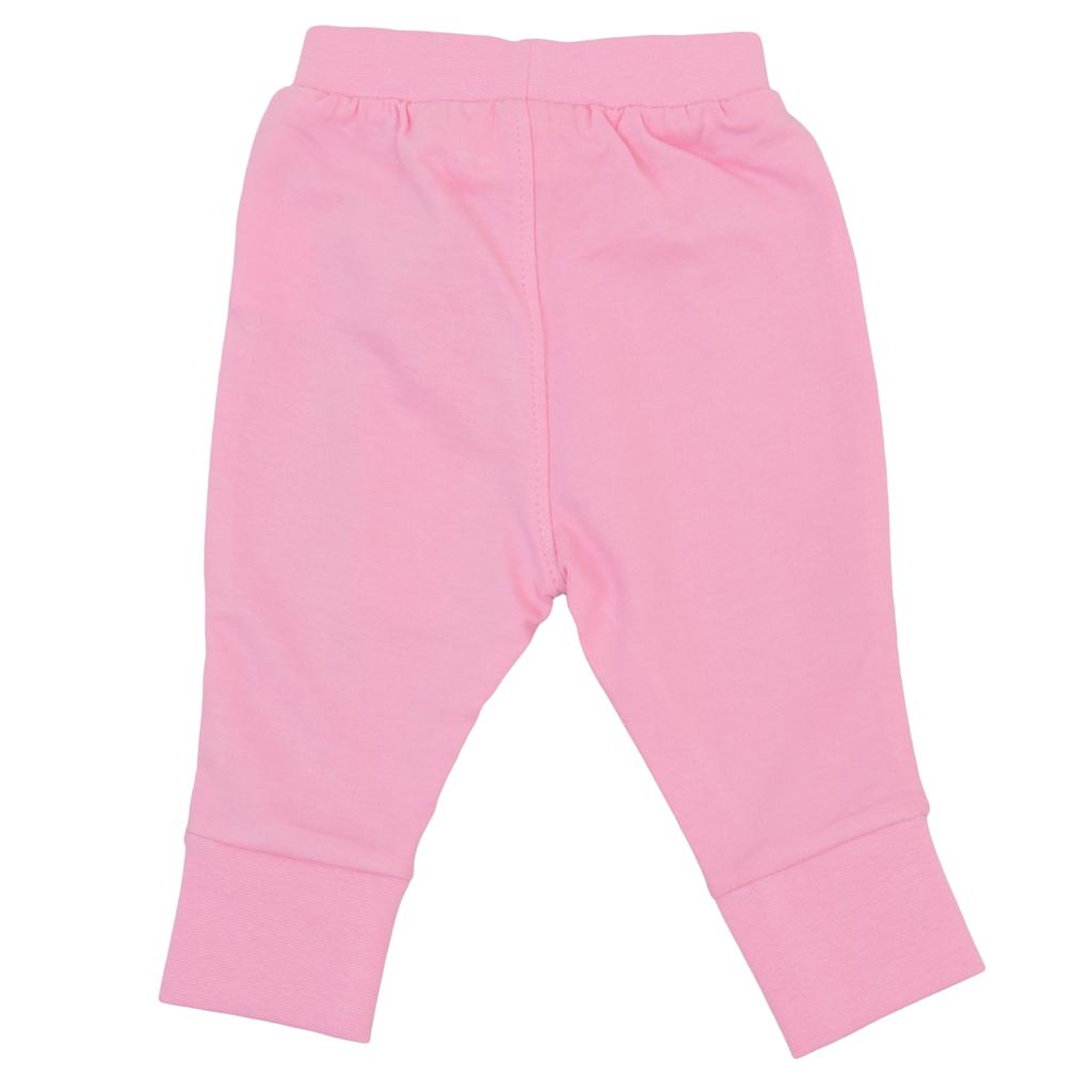 Долнище с широк маншет и щампи на колената в розово