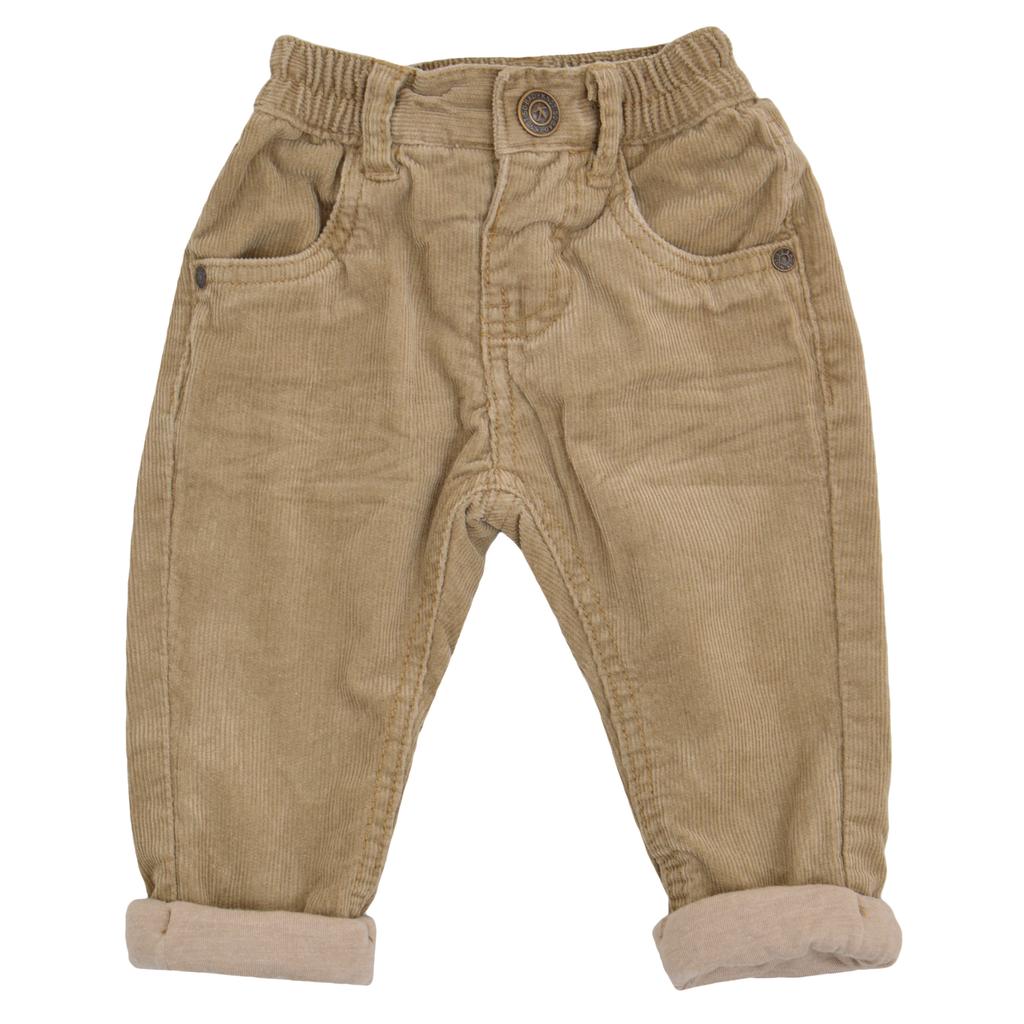 Бебешки джинси с памучна подплата бежови