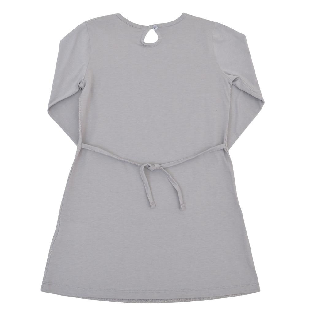 Елегантна детска рокля с плетена мрежа отпред и връзки сива