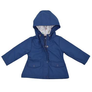 Бебешки дъждобран с качулка и двойно закопчаване в тъмно синьо