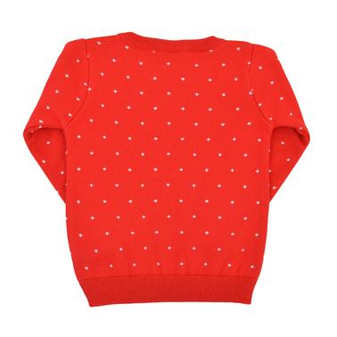 Детски коледен плетен пуловер със снежен човек червен