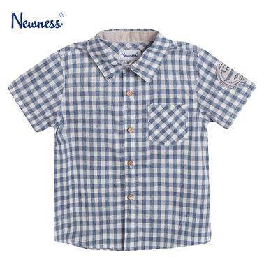 Карирана риза с къс ръкав и джобче от Newness в светло синьо