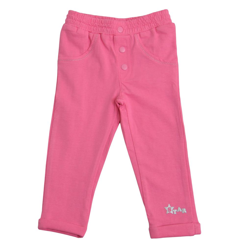 Дълъг клин-панталон с копчета и щампа тъмно розов