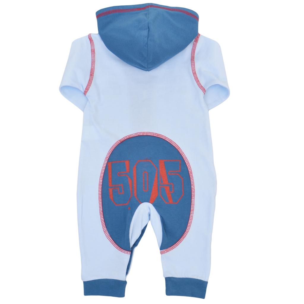 Бебешки гащеризон с качулка и джобове светло син