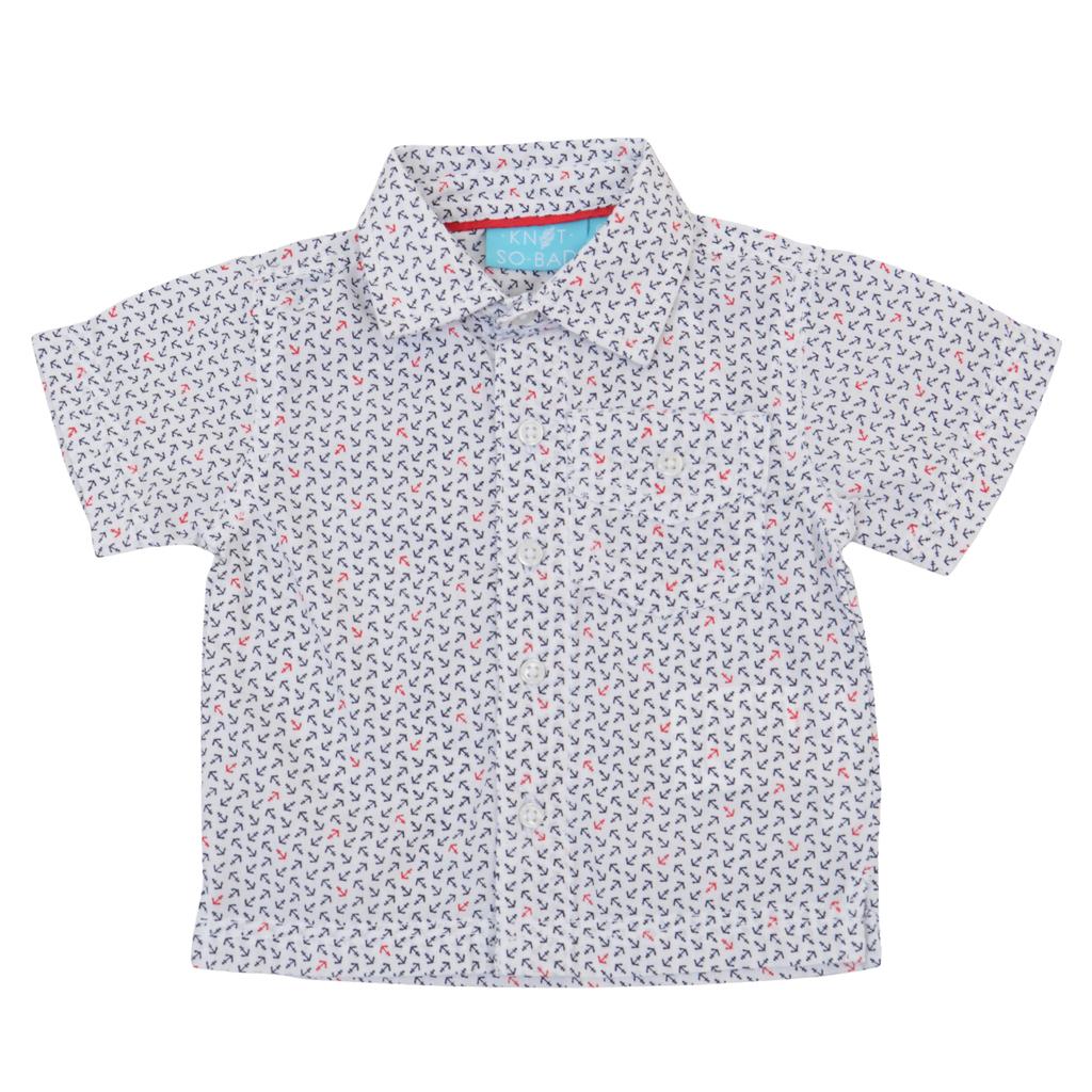 Риза къс ръкав с котвички и джобче бяла