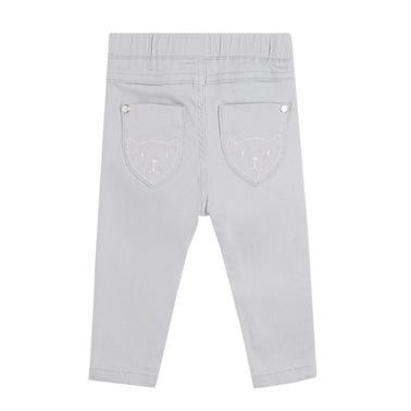 Дънков панталон Newness с бродирани лапички светло сив