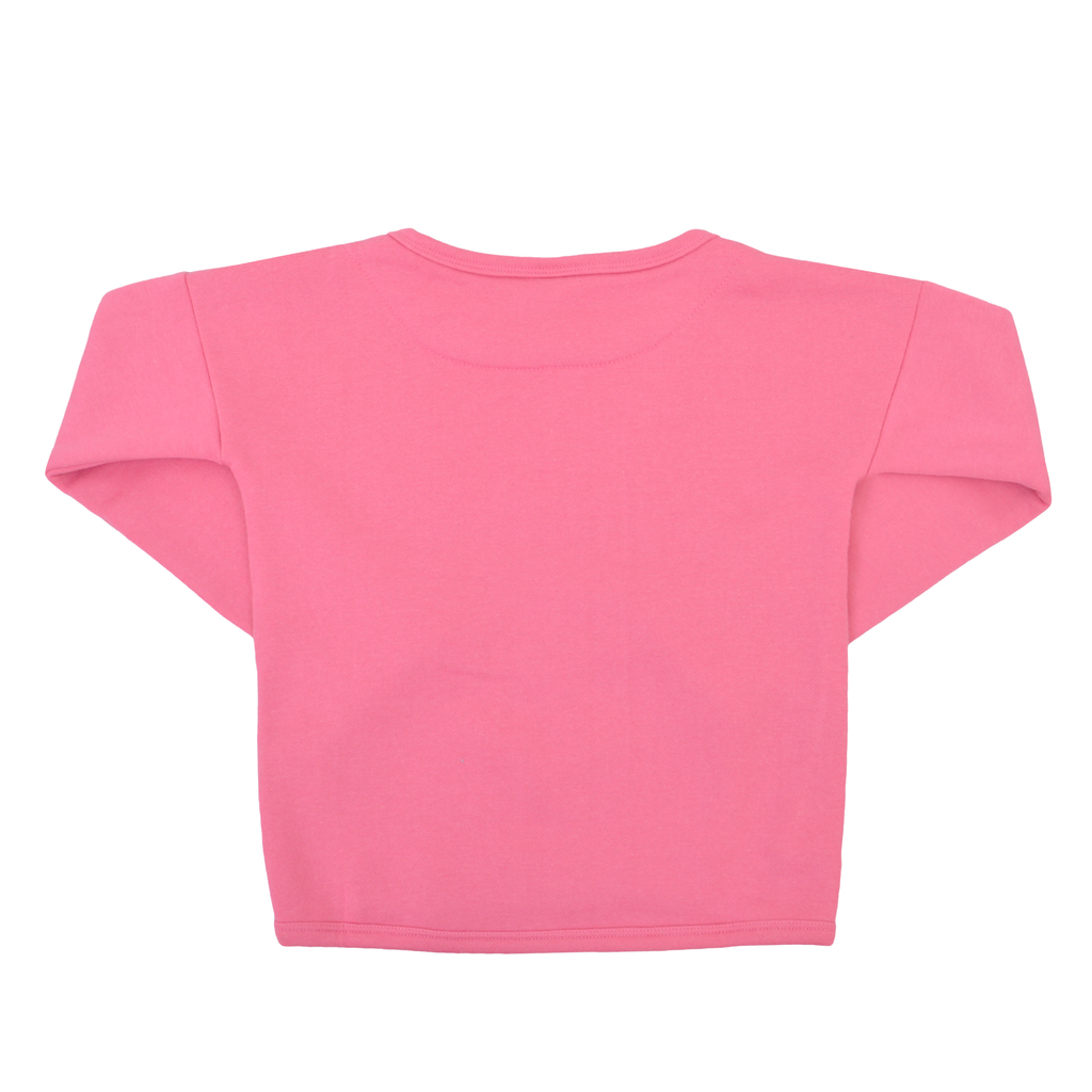 Ватирана блуза с модерен дизайн и рошав надпис тъмно розова