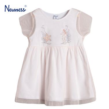 Трикотажна рокля Newness с морска щампа и тюл в розово