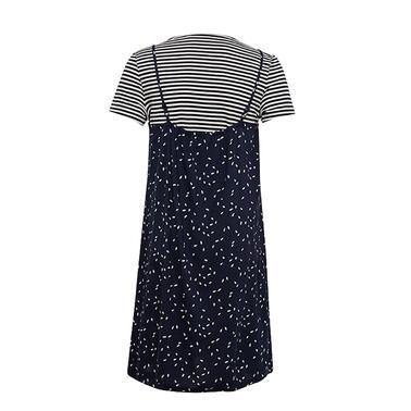 Модерен сет с рокля от вискоза и тениска райе синя