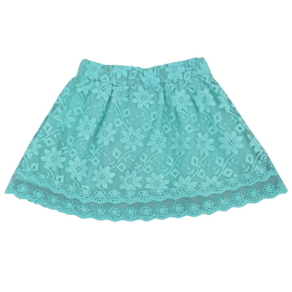 Детска пола с дантела зелена