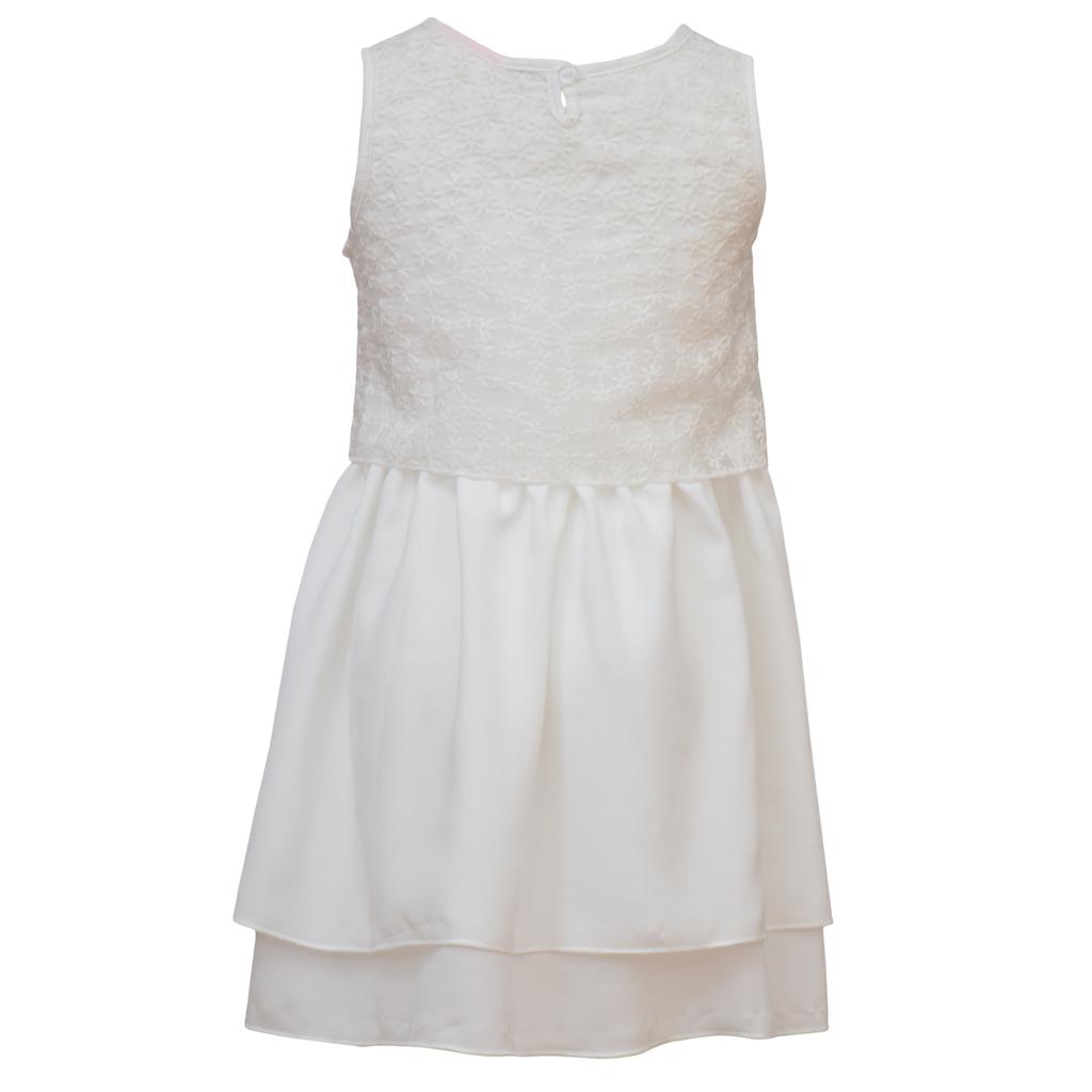Елегантна рокля с бродерии и двойна пола в бяло
