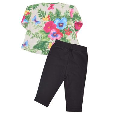 Детски комплект от блуза с пеперудки и клин екрю