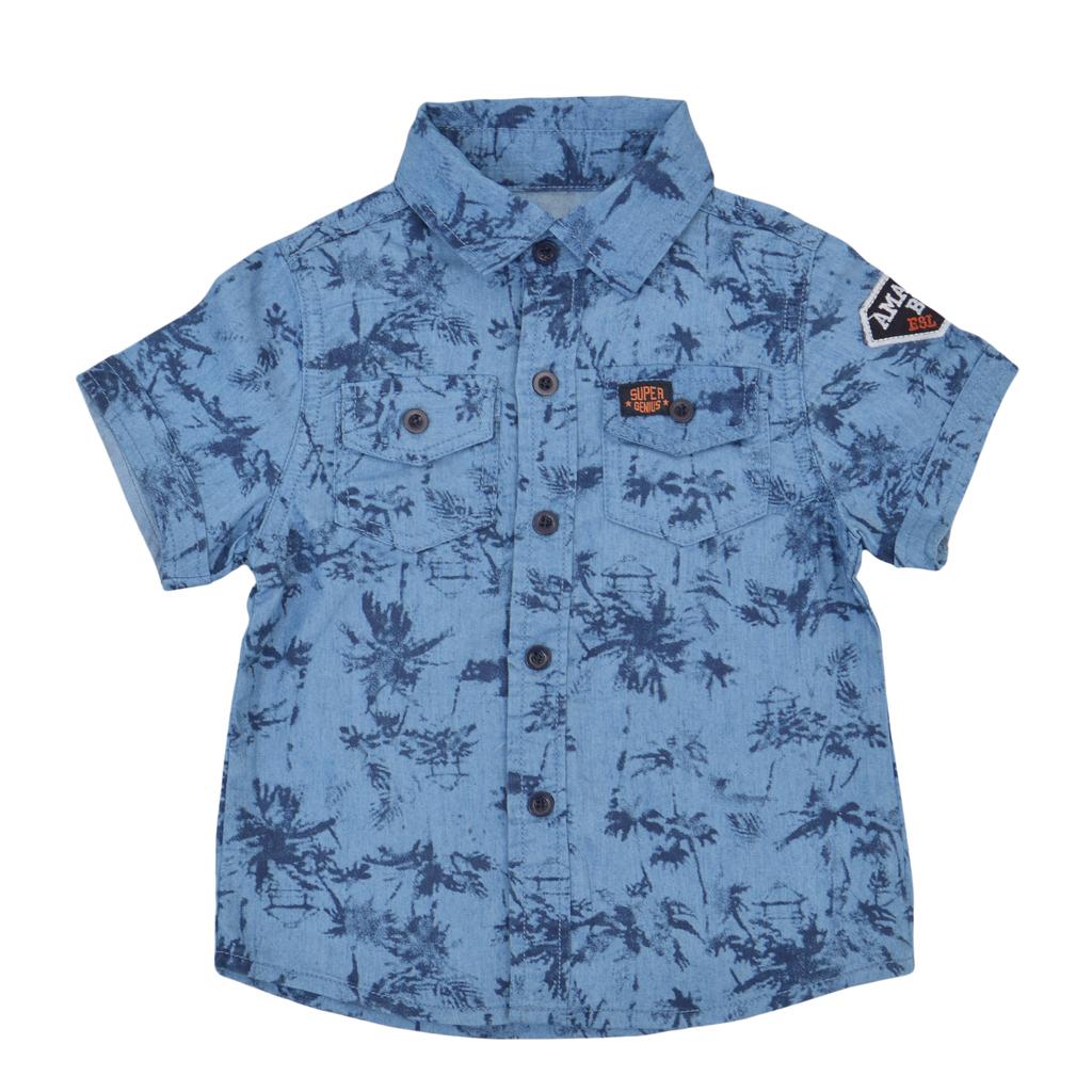 Хавайска риза с къс ръкав и джобчета деним