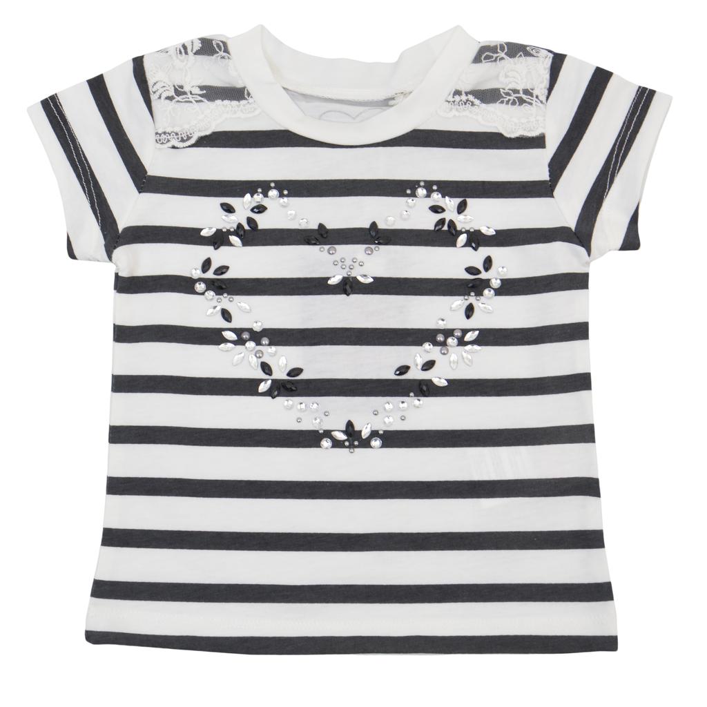 Елегантна детска блуза в райе с камъни тъмно сива