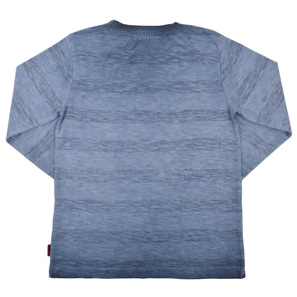 Състарена блуза на райета с емблема домино синя