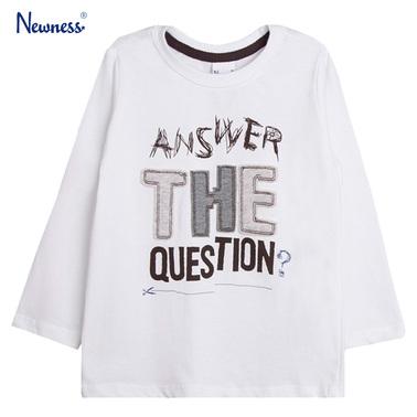 Блуза с атрактивен надпис от Newness бяла