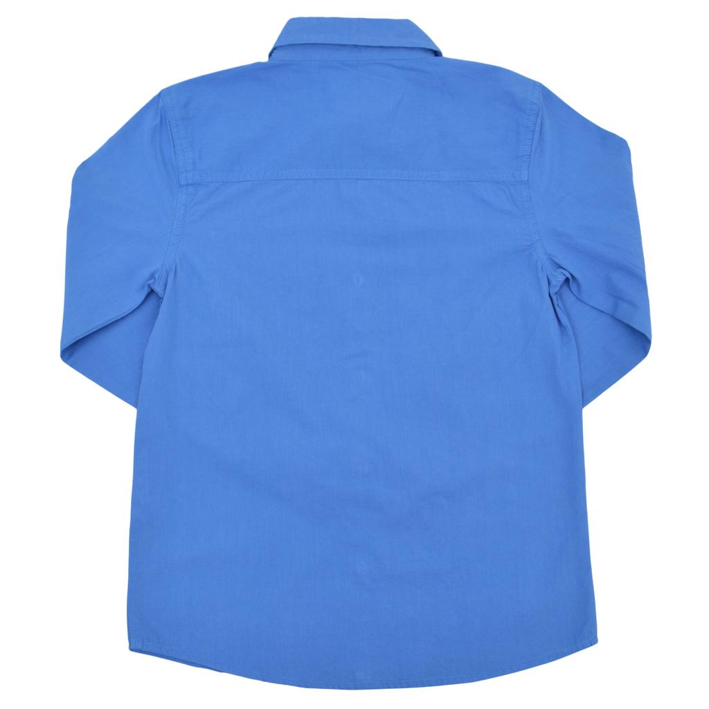 Риза с ръкав 2 в 1 и цветен маншет синя