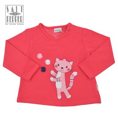 Ватирана блузка трапец с коте от Salt and Pepper розова