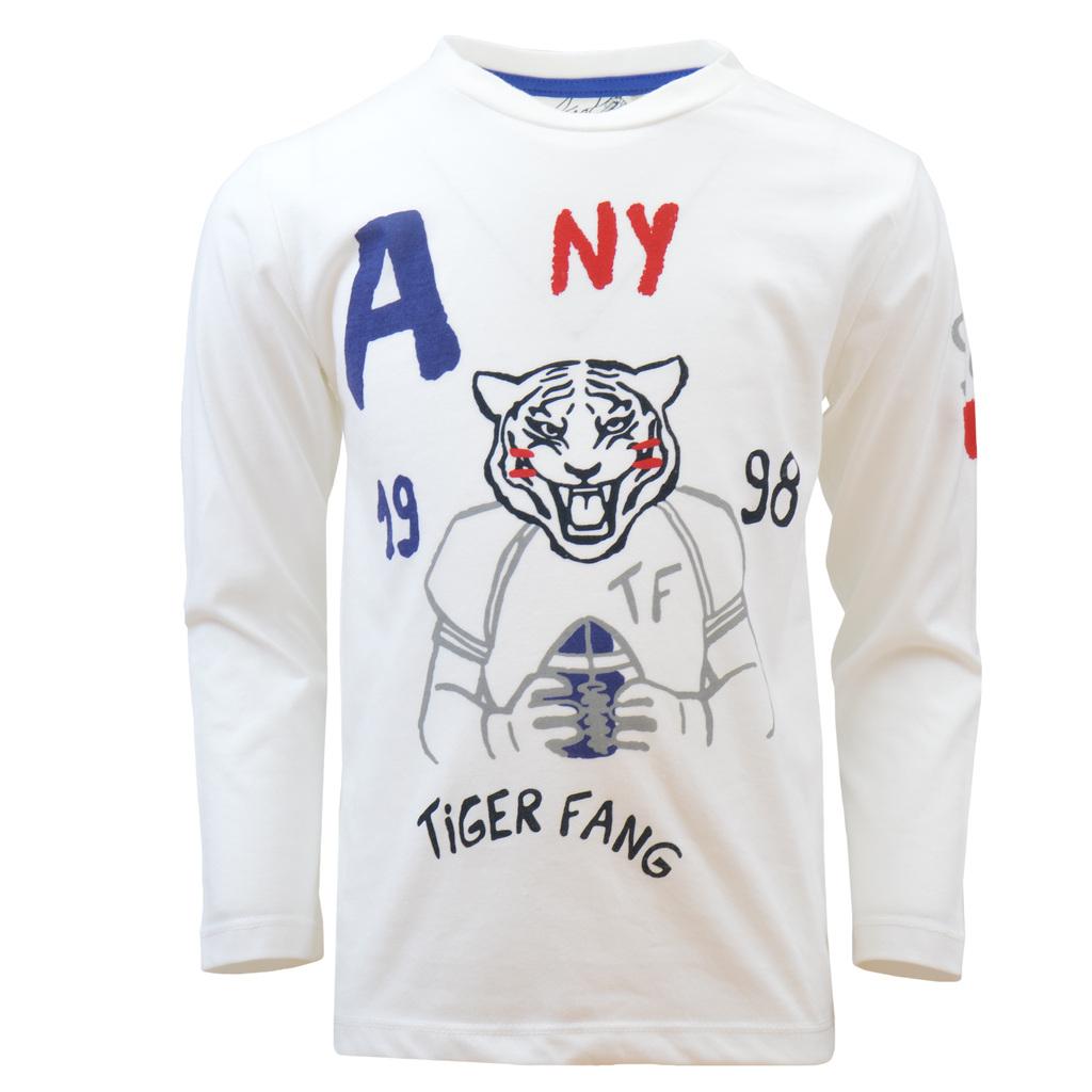 Блуза дълъг ръкав с тигър спортист екрю