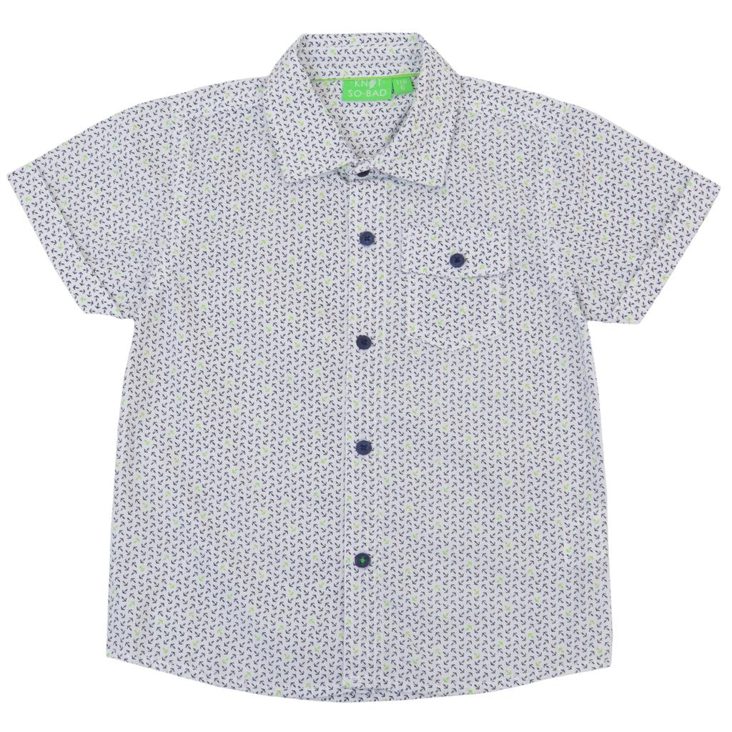 Спортно-елегантна риза с къс ръкав на котвички зелена