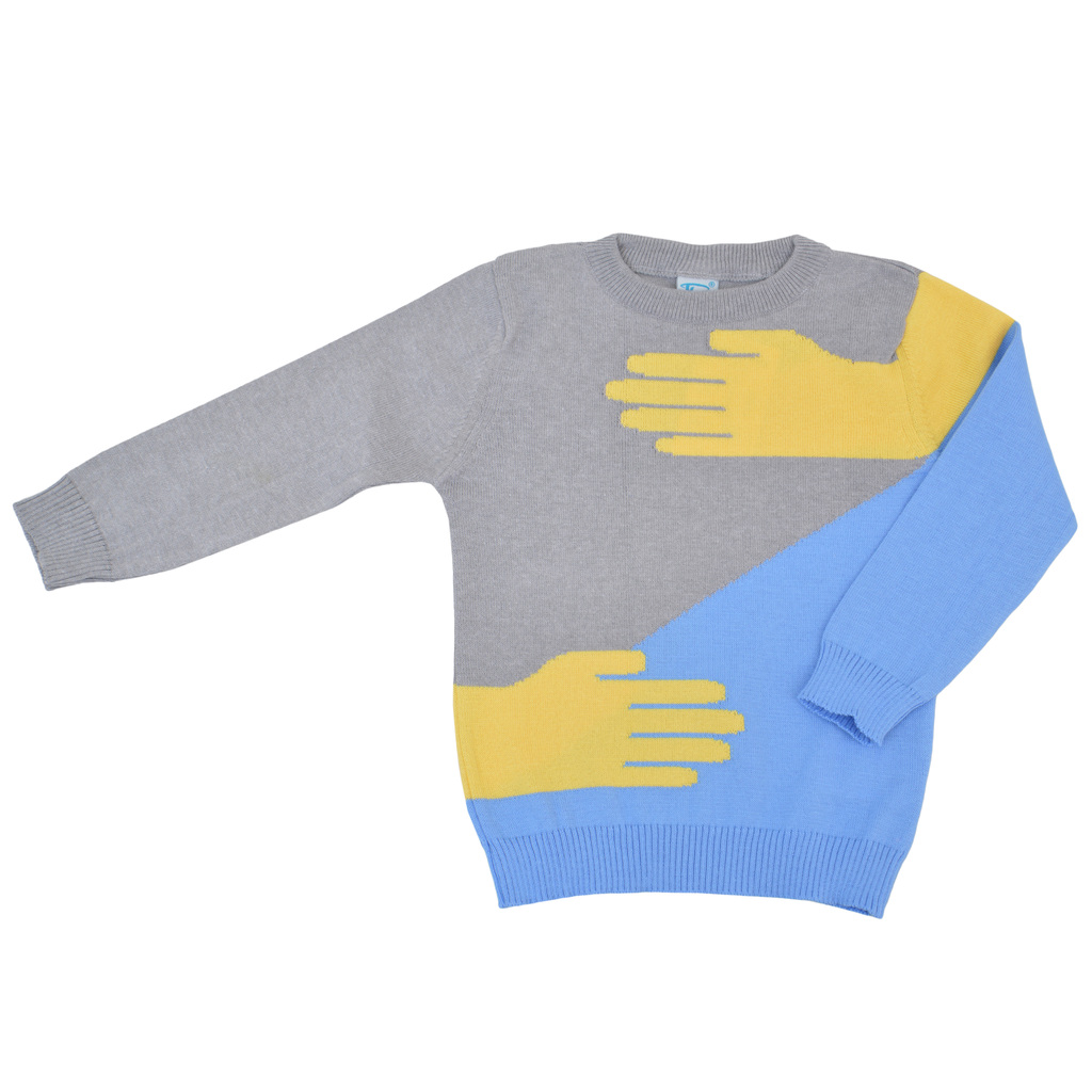 Детска плетена блуза с ръце светло сив