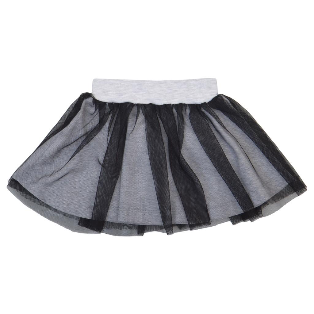 Комплект от блуза с дълъг ръкав и пола с тюл светъл меланж