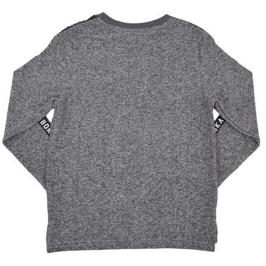 Блуза в сив меланж с ярка щампа на скейтборд и ленти с надписи