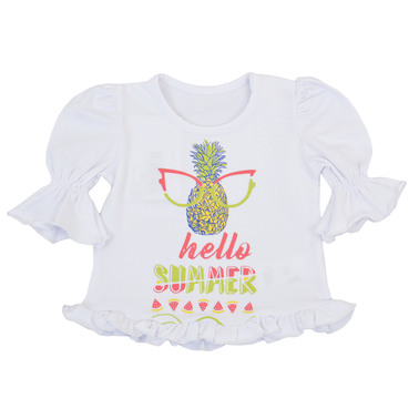 Блуза с 3/4 ръкав, волани и ананас бяла