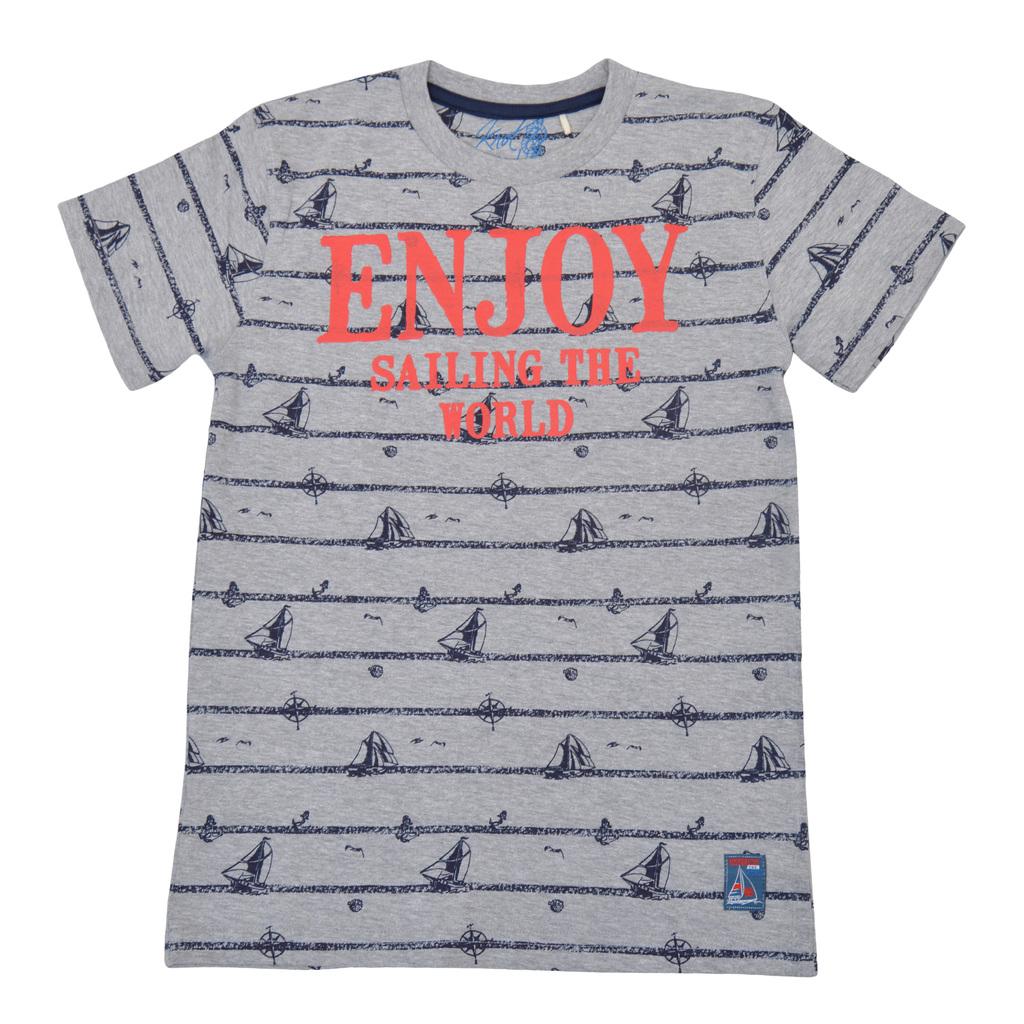 Тениска с морски мотиви и цветен надпис сив меланж