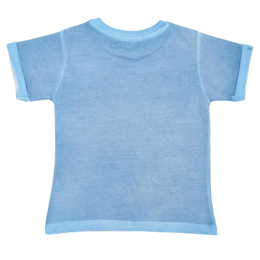 Детска лятна блуза с щампа със скейт във винтидж стил синя