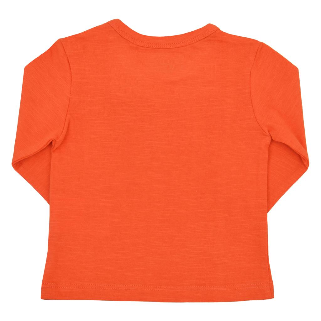 """Блузка дълъг ръкав с коте и надпис """"So Fun"""" оранжева"""