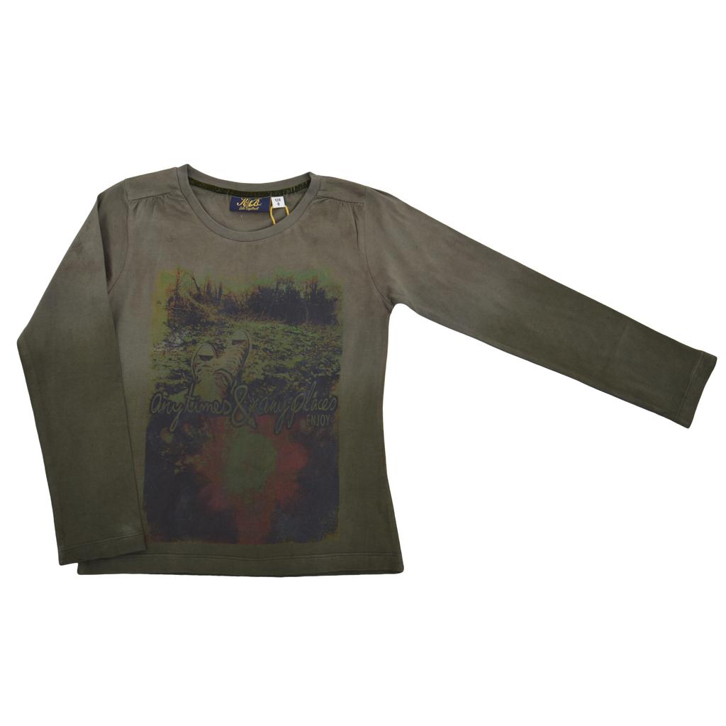 Детска есенна блуза с интересна щампа зелена