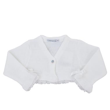 Бебешко болеро от фино плетиво с панделки бяло