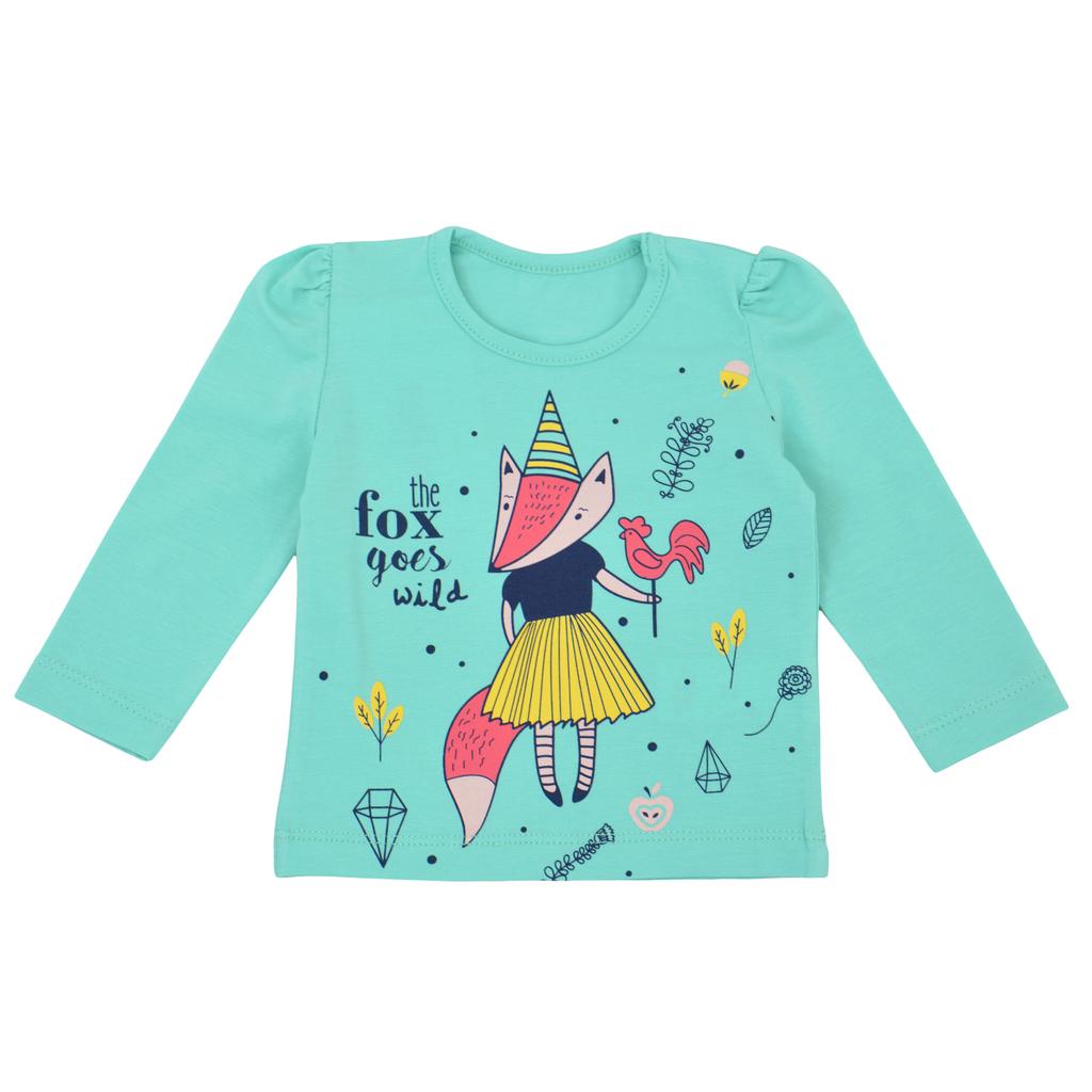 Бебешка блуза с дълги ръкави с щампа с лисица зелена
