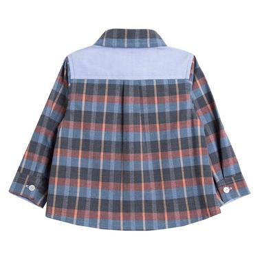 Карирана риза с джобчета и емблема от Newness синя