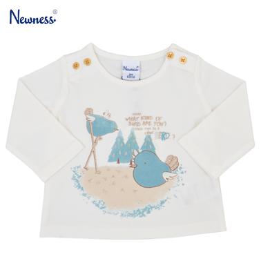 Блузка Newness с дълъг ръкав и щампа на птичета бяла