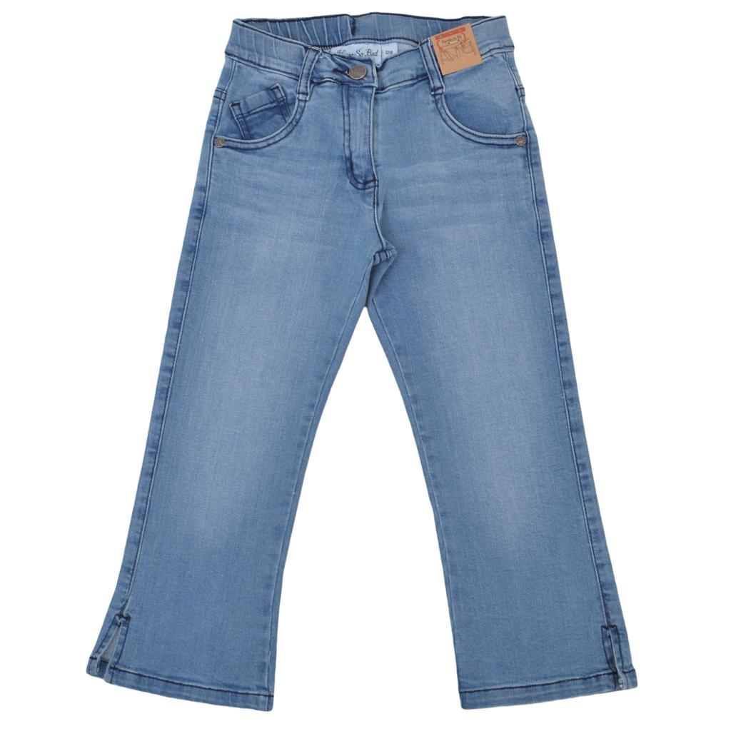 Дънков панталон с 3/4 крачол и дамско закопчаване деним