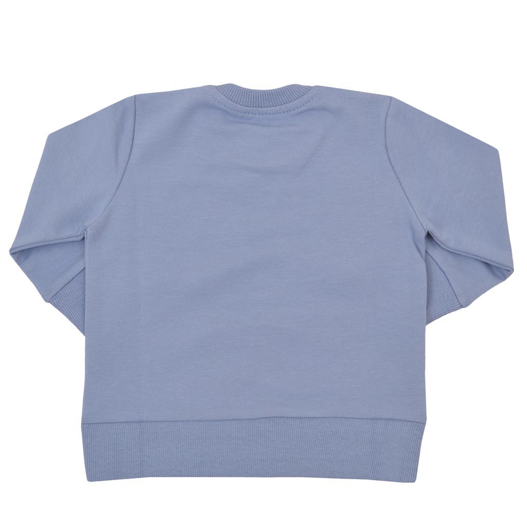 Спортна блуза с мече и нестандартен джоб сиво-синя