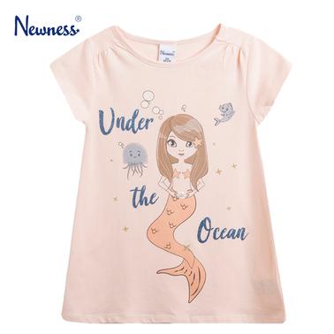 Трикотажна рокля Newness с русалка и брокатен надпис в розово