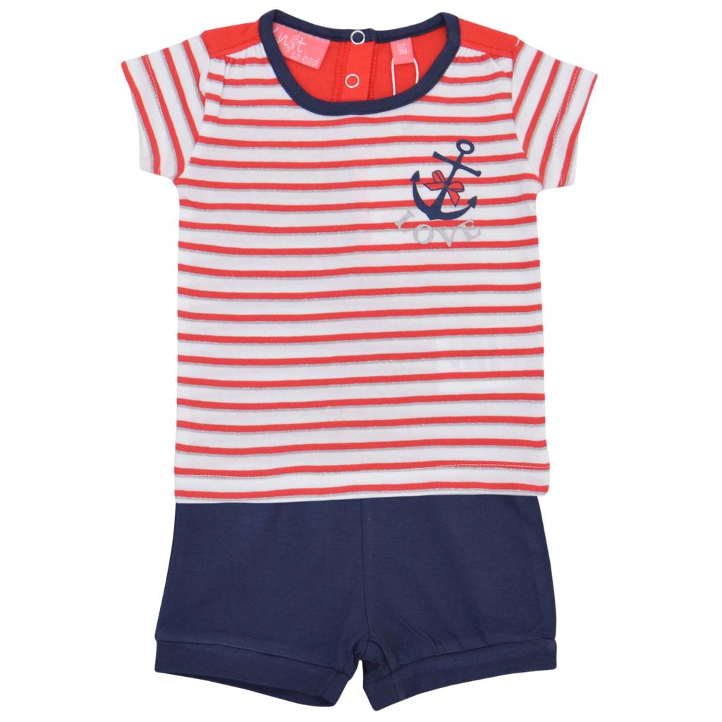 Бебешки летен комплект с блуза в райе и къси панталонки с панделка червен