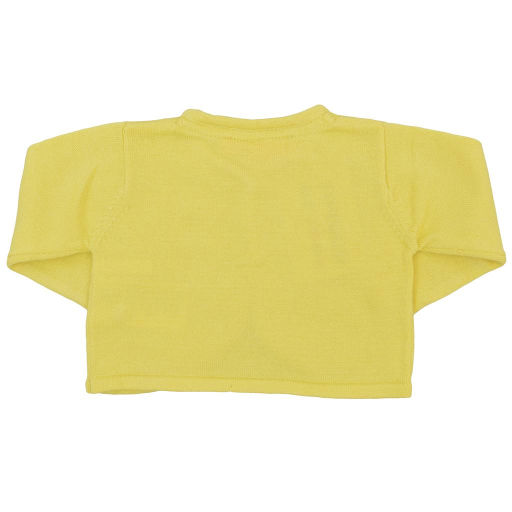Къса плетена жилетка с панделка в жълто