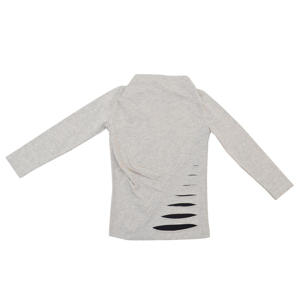 Модерна блуза с ефектен дизайн светъл меланж