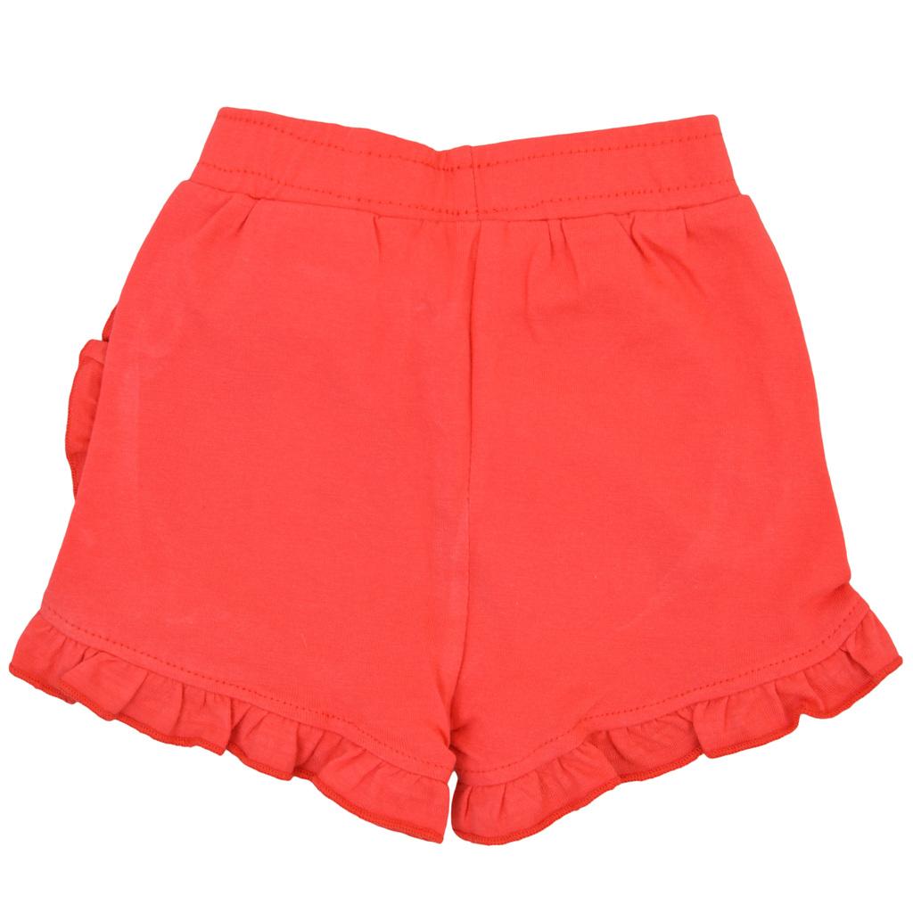 Кокетни къси панталонки от трико с къдрички червени