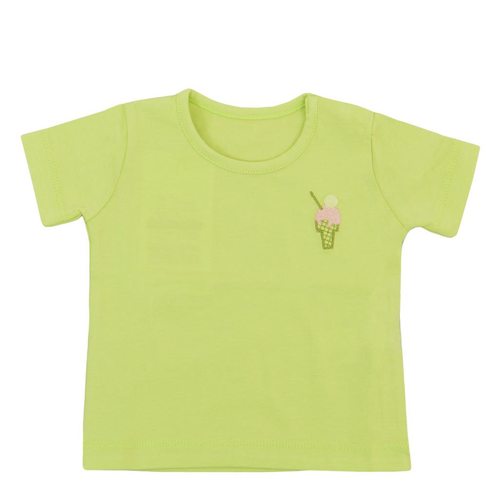 Тениска с бродиран сладолед и копчета зелена